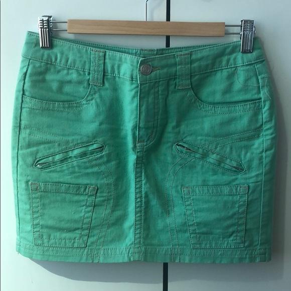BCBGMaxAzria Dresses & Skirts - BCBGMAXAZRIA Mint Green Mini Jean Skirt